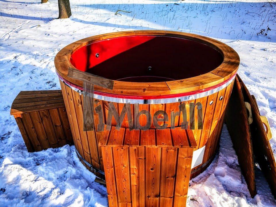 Badezuber aussenwhirlpool GFK Winter mit Elektroofen
