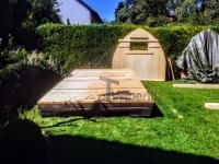 DIY Gartensauna Projekt - der Sockel und die Rückwand